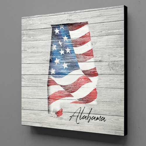 Canvas Wall Art - US Flag Alabama