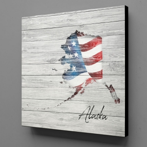 Canvas Wall Art - US Flag Alaska