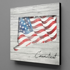 Canvas Wall Art - US Flag Connecticut