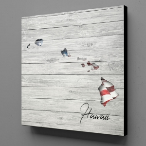 Canvas Wall Art - US Flag Hawaii