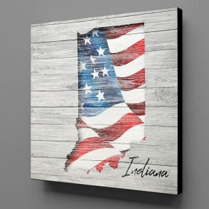 Canvas Wall Art - US Flag Indiana