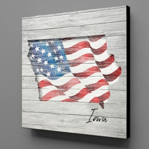Canvas Wall Art - US Flag Iowa