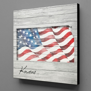 Canvas Wall Art - US Flag Kansas