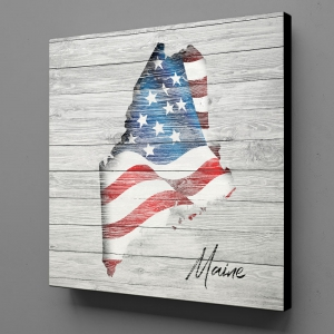 Canvas Wall Art - US Flag Maine
