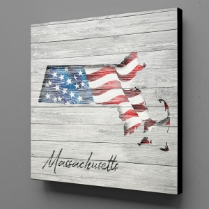 Canvas Wall Art - US Flag Massachusetts