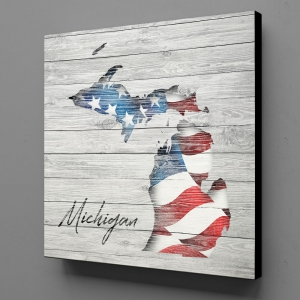 Canvas Wall Art - US Flag Michigan