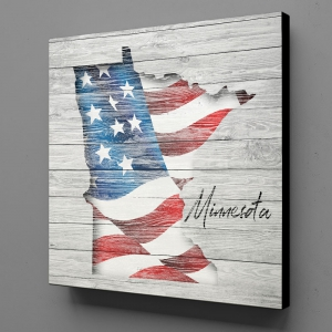 Canvas Wall Art - US Flag Minnesota