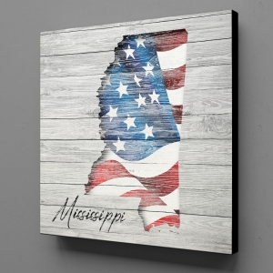 Canvas Wall Art - US Flag Mississippi