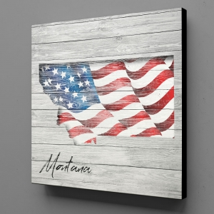 Canvas Wall Art - US Flag Montana