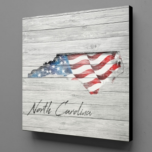 Canvas Wall Art - US Flag North Carolina