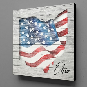 Canvas Wall Art - US Flag Ohio