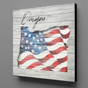 Canvas Wall Art - US Flag Oregon