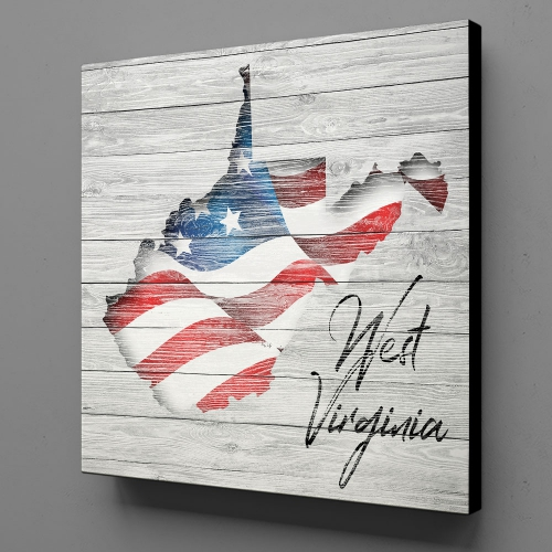 Canvas Wall Art - US Flag West Virginia