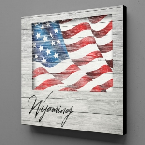 Canvas Wall Art - US Flag Wyoming